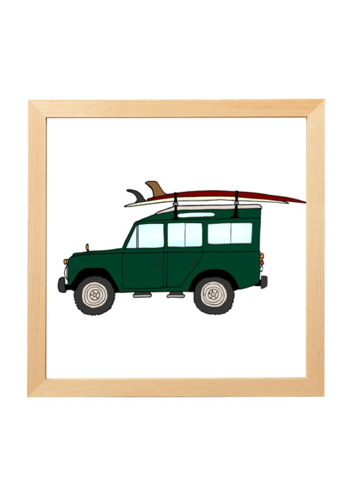 """1970 Land Rover Defender & 9'6 Almond """"Surf Thump"""""""